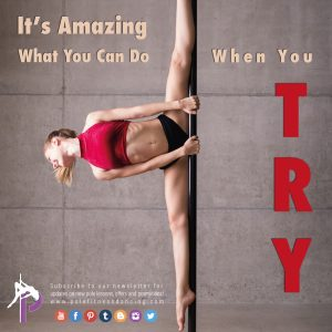 pole dancer doing Pole Fitness Exercises and Pole Fitness Workout while doing a split on the pole