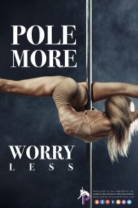 A woman pole dancing and doing pole fitness while splitting on the pole
