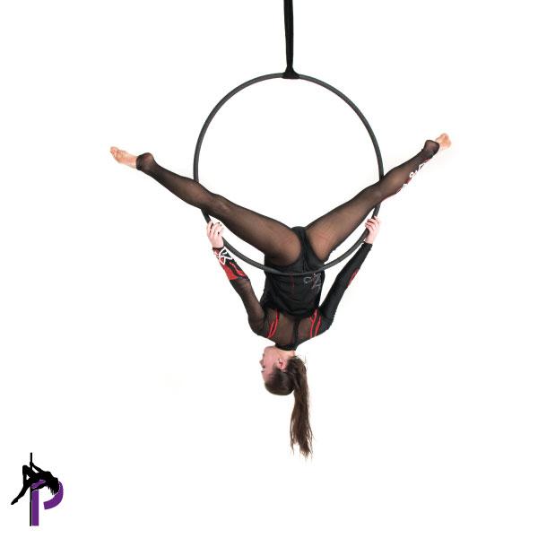 girl inverting in the aerial hoop class vs aerial hoop at home