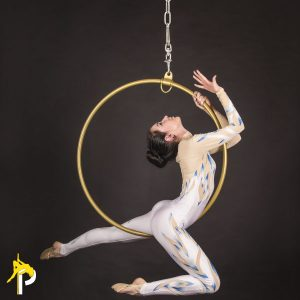girl posing on the aerial hoop aerial hoop fitness and lyra hoop poses