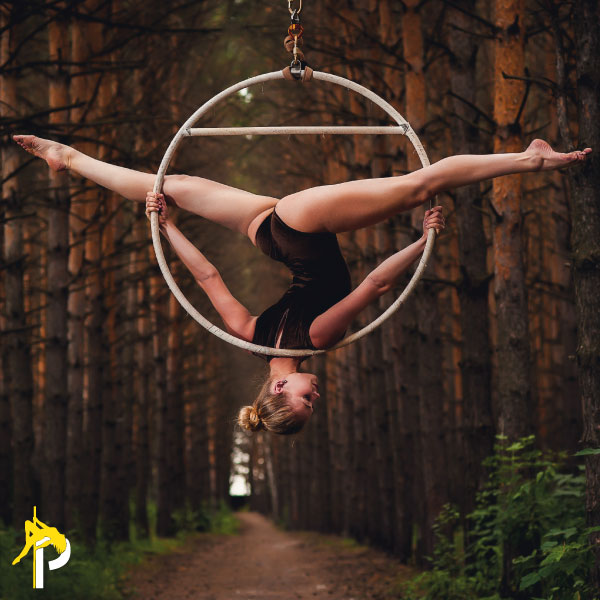 a girl doing an invert on the lyra hoop and aerial hoop at home and aerial hoop dancing